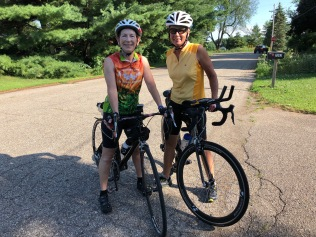 Trish and Deb biking